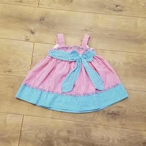 Rare Editions Seersucker Summer Dress Pink {12M}